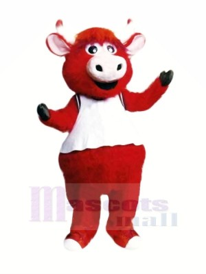 Red Bull with White Vest Mascot Costumes Cartoon