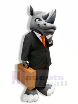 Gentleman Grey Rhino Mascot Costumes Adult