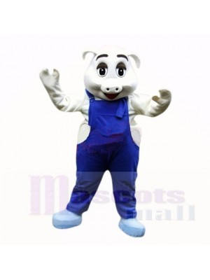 Sport Pig with Blue Overalls Mascot Costumes School