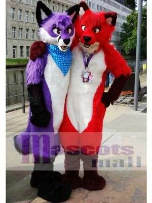 Fursuit Purple or Red Wolf Husky Dog Mascot Costume