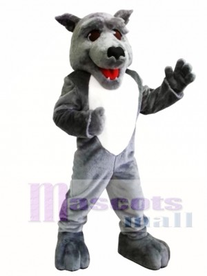 Cute Grey Wolf Mascot Costume
