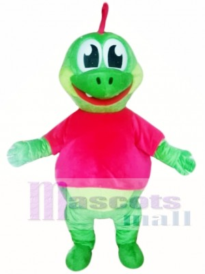 Cute Green Dinosaur Mascot Costume