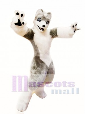 Cute White Grey Wolf Mascot Costume