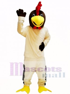 Friendly Beige Rooster Chicken Mascot Costume