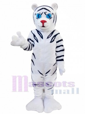 White Tiger Cartoon Mascot Christmas Costume