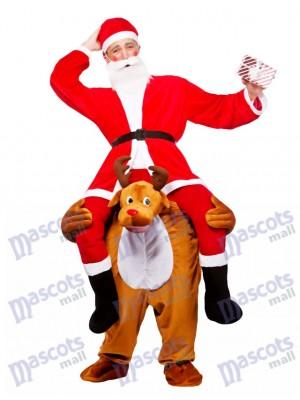 Reindeer Carry Me Mascot Costume Reindeer Carry Santa Claus Christmas Fancy Dress