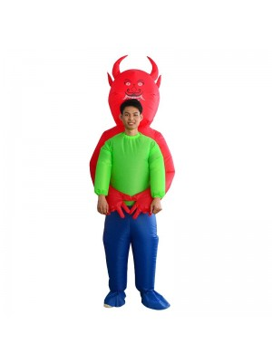 Red Devil Demon Monster Carry me Inflatable Costume Halloween Christmas Costume for Adult