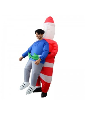 Santa Claus Carry me Inflatable Costume Halloween Christmas Costume for Adult