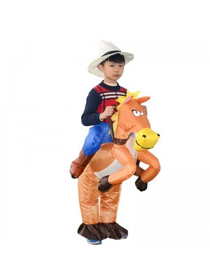 Orange Horse Carry me Ride on Inflatable Costume Cowboy Halloween Xmas for Kid