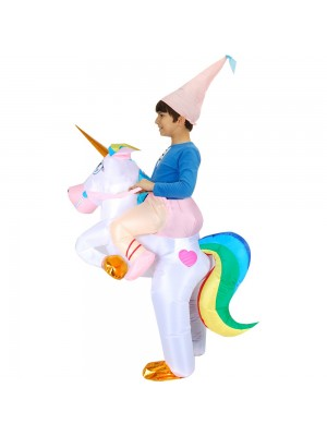 Unicorn with Rainbow Tail Carry me Ride on Inflatable Costume Jumpsuit for Adult/Kid