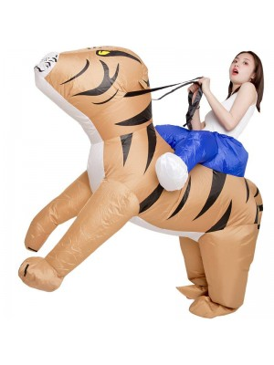 Tiger Carry Me Ride on Inflatable Costume Halloween Xmas Costume for Adult