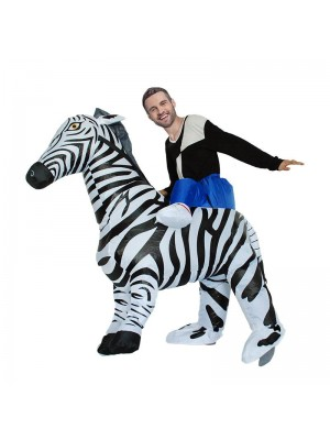 Zebra Carry me Ride on Inflatable Costume Halloween Christmas Jumpsuit for Adult/Kid