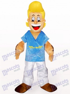 Yellow Hair Popeye In Blue Clothes Anime Mascot Costume
