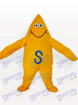 Yellow Starfish Cartoon Adult Mascot Costume