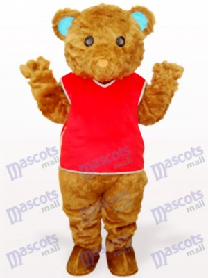 Brown Long Hair Bear With Red Waistcoat Animal Mascot Costume