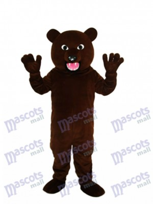 Black Brown Bear with Sharp Tooth Mascot Adult Costume Animal
