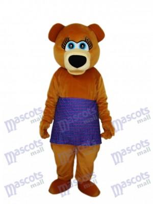 Brown Bear in Purple Skirt Mascot Adult Costume Animal
