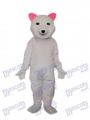 Pink Ears Polar Bear Mascot Adult Costume Animal