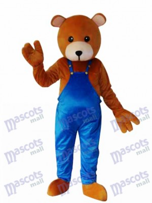 Teddy Bear in Blue Overalls Mascot Adult Costume Animal