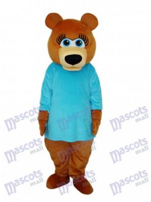 Ms.Bear in Blue T-shirt Mascot Adult Costume Animal