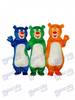 Blue & Green & Orange Bear Family (Three Bears) Mascot Costume Animal