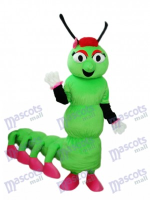 Greeen Worm with Long Tail Mascot Adult Costume Insect