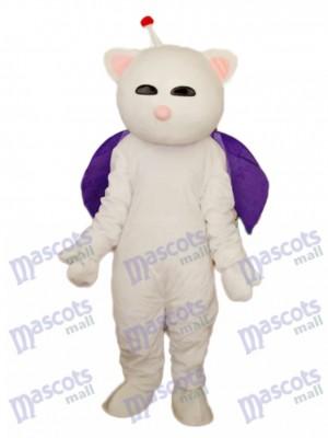 Pink Nose White Cat Mascot Adult Costume Animal