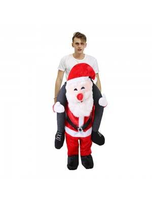 Smiling Santa Claus Carry me Ride on Halloween Christmas Costume for Adult/Kid