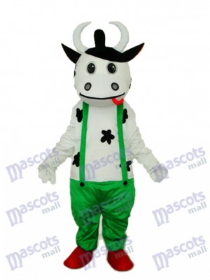 Cow in Green Overall Mascot Adult Costume Animal