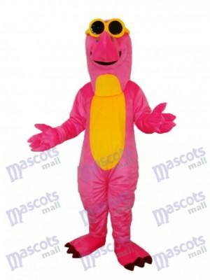 Pink Dinosaur with Glasses Mascot Adult Costume Animal