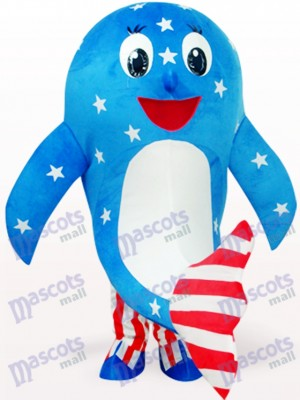 Blue American Dolphin Ocean Adult Mascot Costume