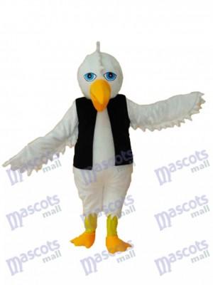 White Eagle in Black Vest Mascot Adult Costume Animal