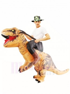 Brown Tyrannosaurus T-Rex Inflatable Carry Me Ride On Mascot Costumes