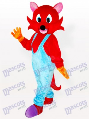 Red Fox in Blue Bib Overalls Adult Mascot Costume