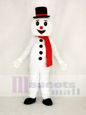 Cute Snow Man with Hat Mascot Costume Cartoon