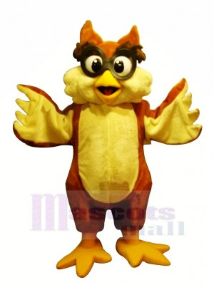 Yellow Owl with Glasses Mascot Costumes Cartoon