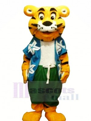 Cool Tiger with T-shirt Mascot Costumes Cartoon