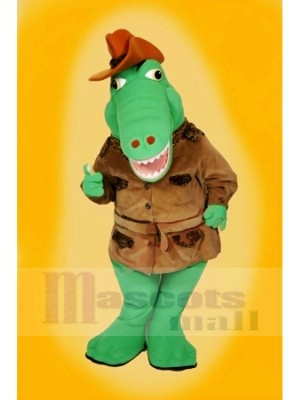 Cool Alligator with Brown Hat Mascot Costumes Cartoon