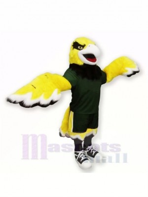 Yellow Hawk with Black Suit Mascot Costumes Cartoon