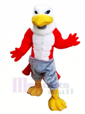 Friendly Muscle Hawk Mascot Costume Cartoon