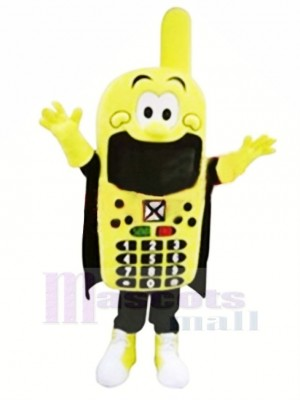 Funny Yellow Phone Mascot Costume Cartoon