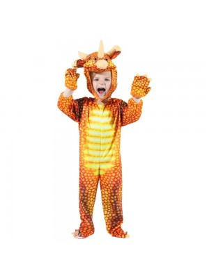Red Triceratops Dinosaur Costume Dinosaur Jumpsuit Halloween Christmas Dress up Gift for Kid