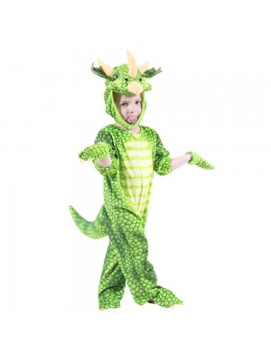 Green Triceratops Dinosaur Costume Dinosaur Jumpsuit Halloween Christmas Dress up Gift for Kid