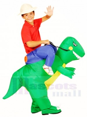 Green Dinosaur Carry me Ride On T-rex Inflatable Halloween Christmas Costumes for Kids