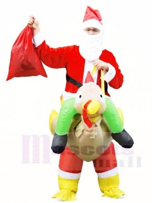 Santa Claus Ride on Turkey Carry Me Inflatable Halloween Xmas Costumes for Adults