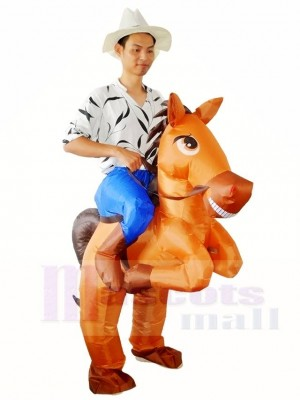 Brown Horse Carry me Ride on Inflatable Halloween Xmas Costumes for Adults