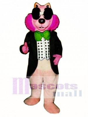 Pink Mink with Vest, Glasses & Bowtie Mascot Costume