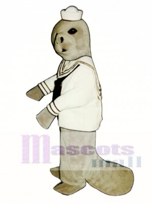Cute Manatee with Sailor Shirt & Hat Mascot Costume