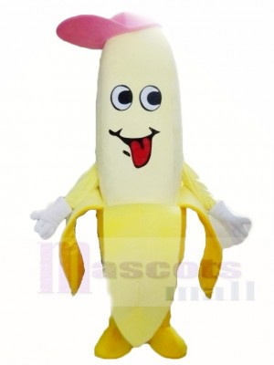 Yellow Banana with A Pink Hat Mascot Costumes Fruit