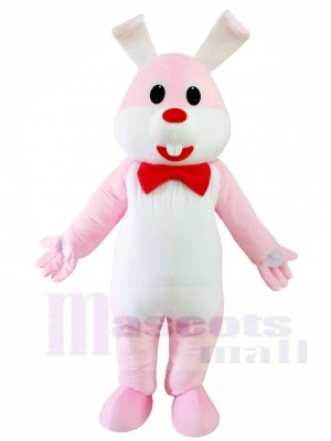 Pink Rabbit Easter Bunny with Red Bowknot Mascot Costumes Animal
